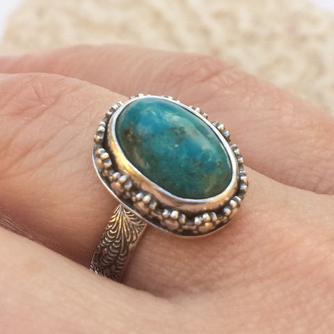Blue,Turquoise,Stacking,Ring,Size,6,Artisan,SilverSmith,Floral,Solitaire,blue turquoise ring, floral turquoise stacking ring, hand fabricated sterling silver jewelry