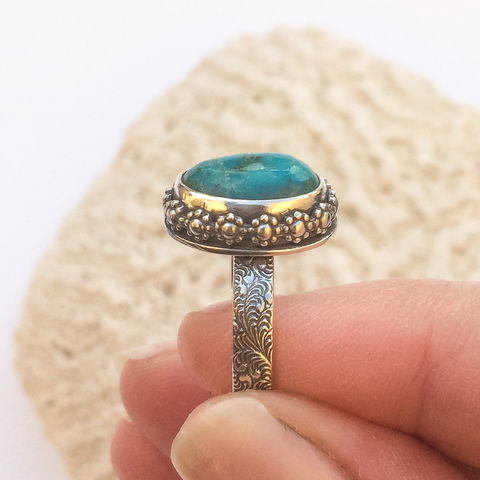 Blue Turquoise Stacking Ring Size 6 Artisan SilverSmith Floral Solitaire  - product images  of