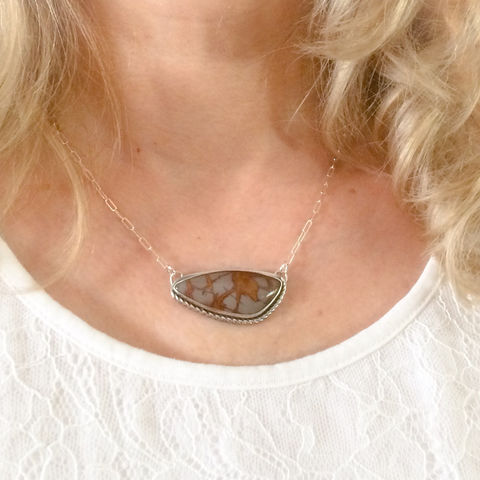 Noreena Jasper Necklace Silversmith Bird on Reverse Adjustable Chain - product images  of
