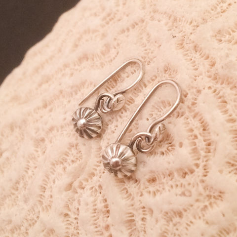 Sterling Silver Small Flower Dangle Earrings, Minimalist Handcrafted Silversmith Earrings, Casual Everyday Earrings, Flower Lover Gift - product images  of