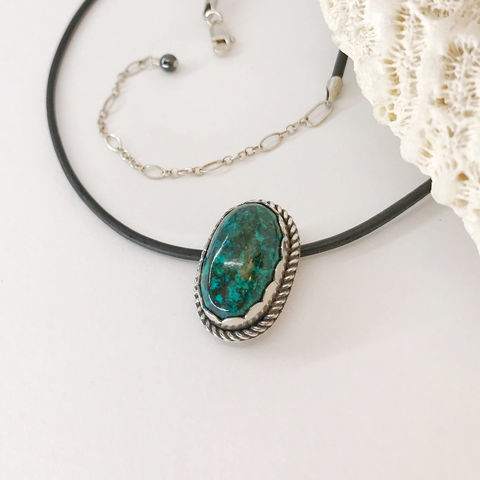Chrysocolla,Pendant,16,to,19,Inch,Black,Cord,,Leather,Cord,Necklace,,Green,Stone,Artisan,Sterling,Silver,Flower,Necklace,Jewelry,Sterling_silver,Chrysocolla_pendant,19_inch,black_cord,leather_cord,cord_necklace,green_stone,stone_necklace,artisan_necklace,flower_necklace,Adjustable_necklace,Chrysocolla Stone,16 to 19 inch,Leather Cord,Sterling Clasp,S