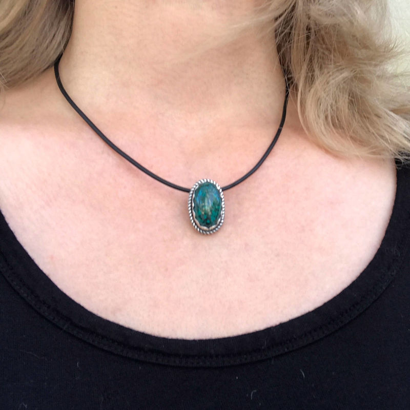 Chrysocolla Pendant 16 to 19 Inch Black Cord, Leather Cord Necklace, Green Stone Necklace, Artisan Necklace, Sterling Silver Flower Necklace - product images  of