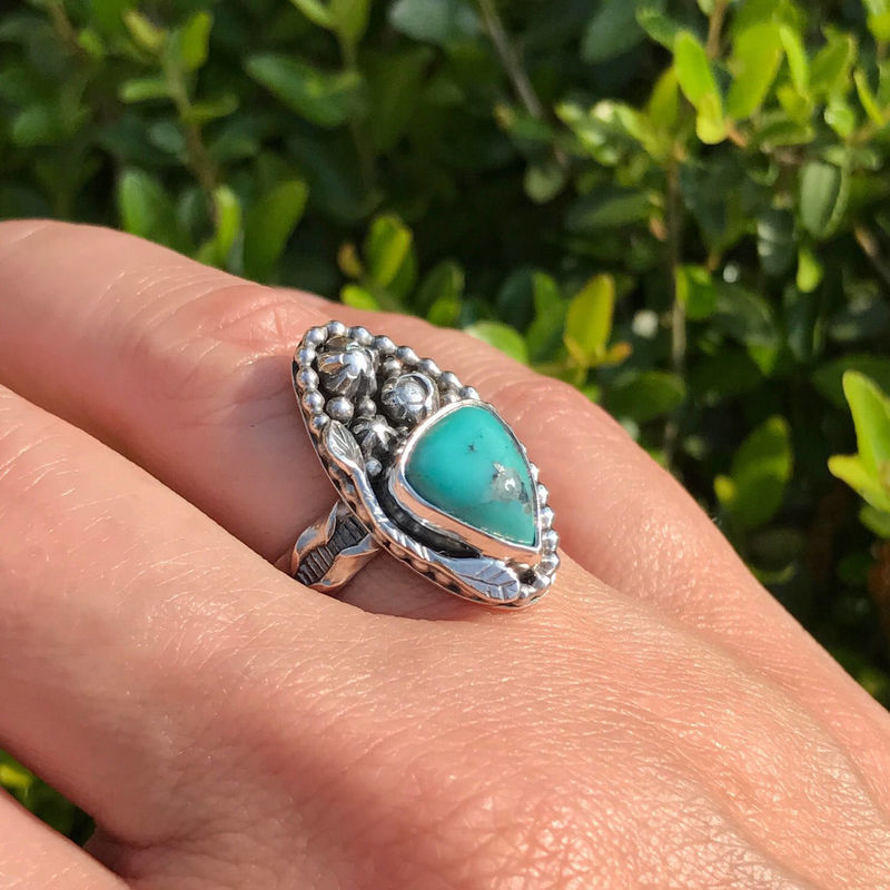 Kingman Turquoise Size 7 1/2 Marquis Sterling Silver Flower Ring - product images  of