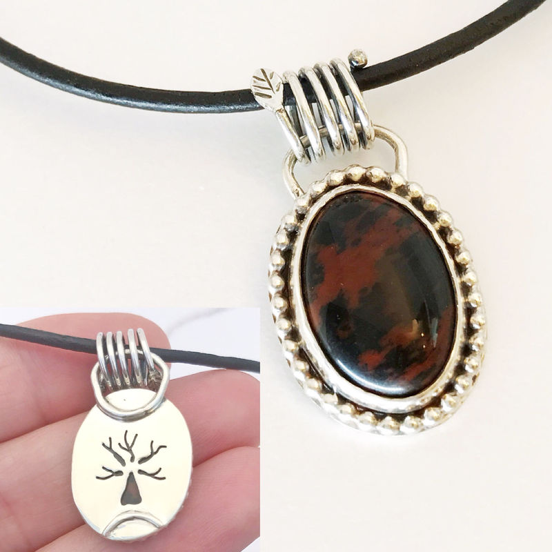 Red Black Agate Necklace with Tree Design and Leather Cord - product images  of