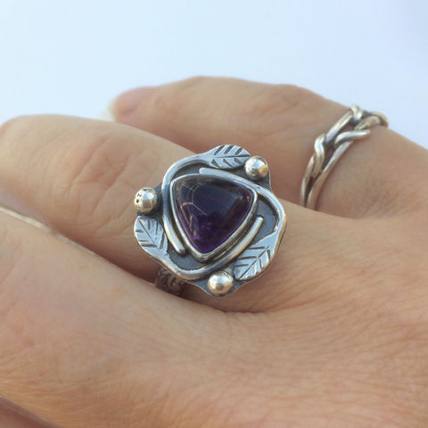 Silversmith,Amethyst,Ring,Size,6,1/2,Leaf,Stacking,sterling silver amethyst ring, silversmith purple ring, Gardener gift, nature lover gift, leaf design