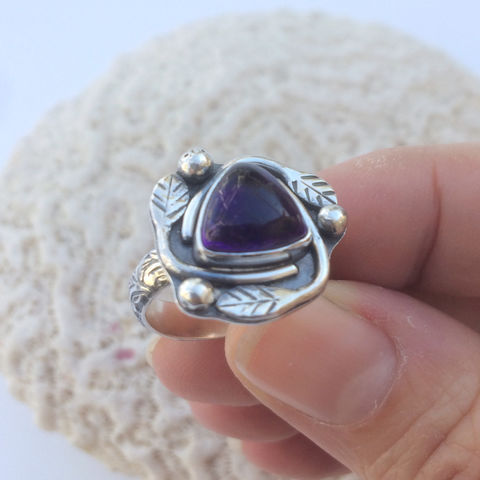 Silversmith Amethyst Ring Size 6 1/2 Leaf Stacking Ring - product images  of