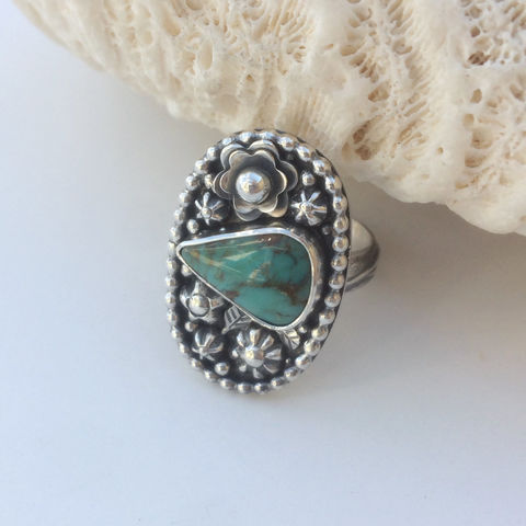 Kingman,Turquoise,Ring,Size,7,1/4,Sterling,Flower,Garden,Silversmith Kingman turquoise ring, artisan flower jewelry, December birthstone, gift for gardener, boho chic flower jewelry, Sterling silver flowers