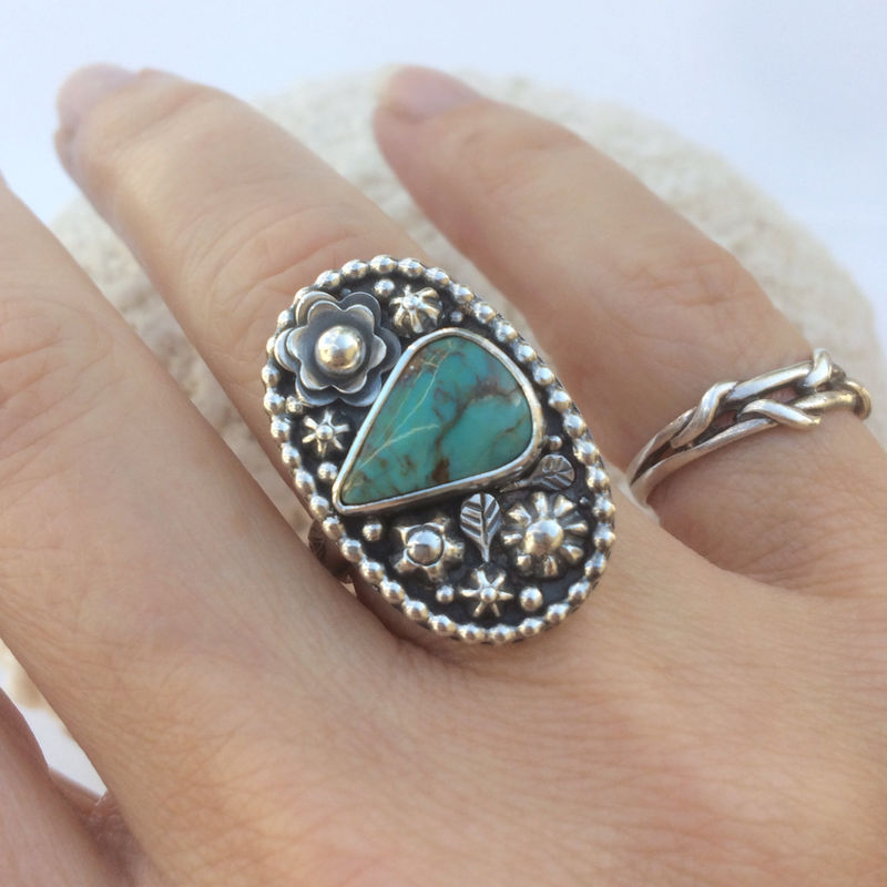 Kingman Turquoise Ring Size 7 1/4 Sterling Flower Garden - product images  of