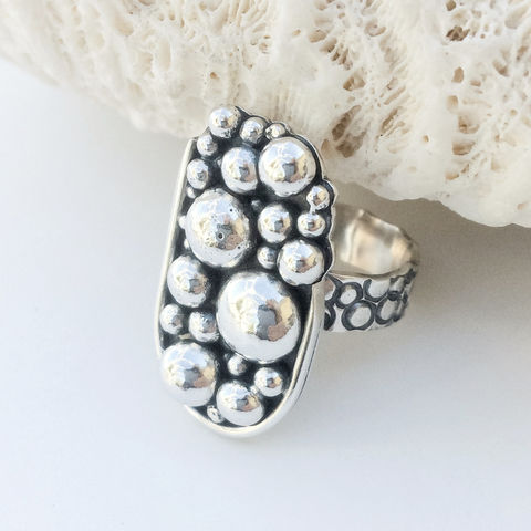 Solid,Sterling,Silver,Ring,Size,8,1/4,Pebbles,Design,Wide,Band,solid Sterling silver ring, size 8, silver pebbles, artisan wide band silver ring