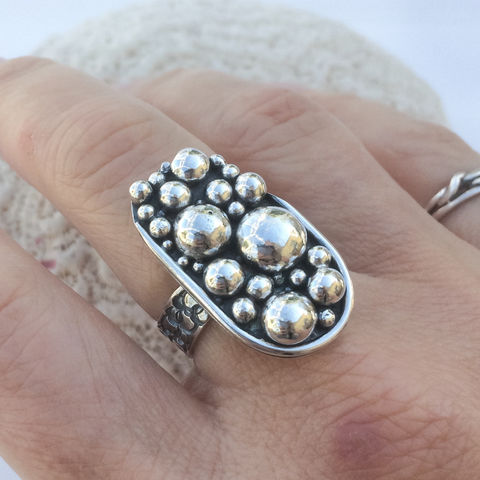 Solid Sterling Silver Ring Size 8 1/4 Pebbles Design Wide Band - product images  of
