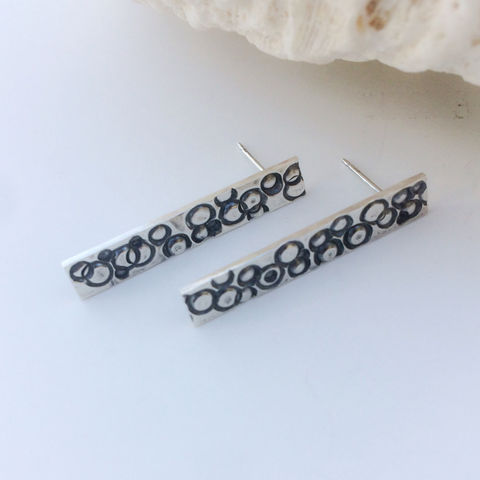 Sterling Silver Bar Earrings Circle Design Post Earrings - product images  of