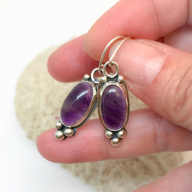Purple Amethyst Dangle Earrings in Sterling Silver - product images  of