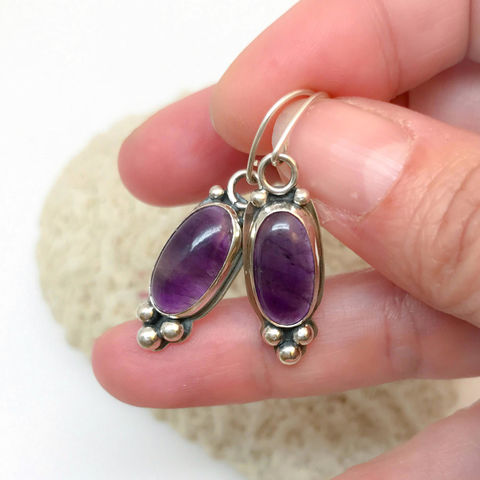 Purple,Amethyst,Dangle,Earrings,in,Sterling,Silver,amethyst earrings, purple sterling silverjewelry, artisan silver dangles