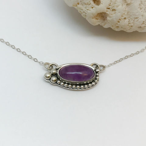 Amethyst Bar Necklace Sterling Silver Adjustable Chain - product images  of