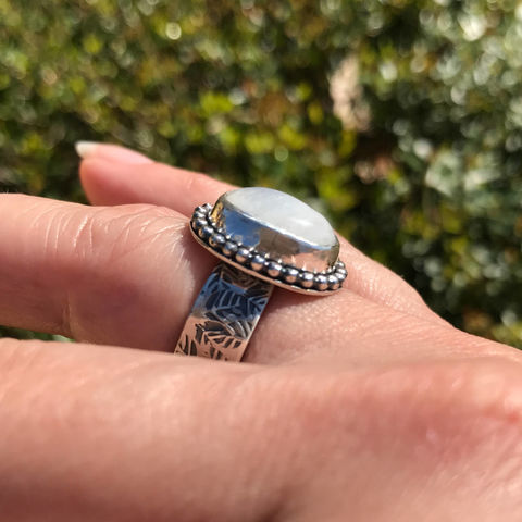 Rainbow Moonstone Ring Size 6 1/2 Leaf Pattern Wide Band - product images  of