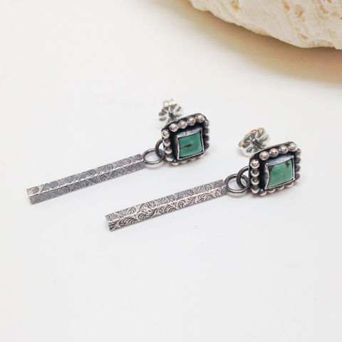 Square,Turquoise,Earrings,Long,Sterling,Silver,Stick,Dangles,square turquoise earrings, long Sterling silver earrings, December birthstone, boho chic turquoise dangles , bohemian silversmith dangles