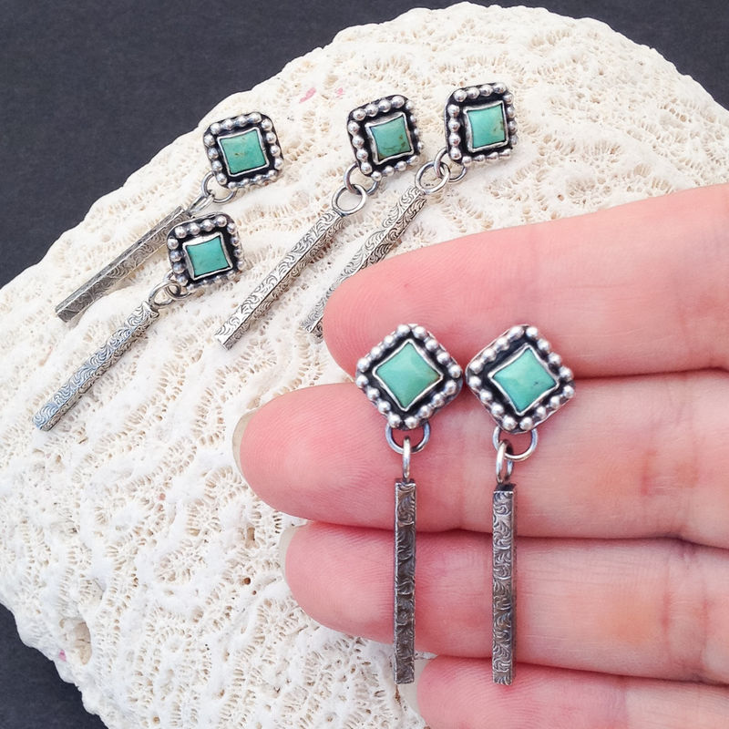Square Turquoise Earrings Long Sterling Silver Stick Dangles - product images  of