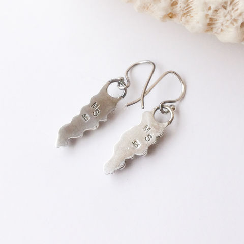 Cluster Sterling Silver Earrings Pebble Design Dangles - product images  of