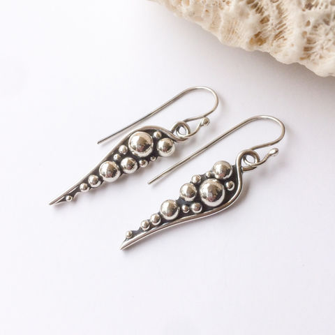 Solid,Sterling,Silver,Pebbles,Dangles,Silversmith,Earrings,hand fabricated Sterling silver earrings, silver ball dangles, bohemian silversmith earrings,