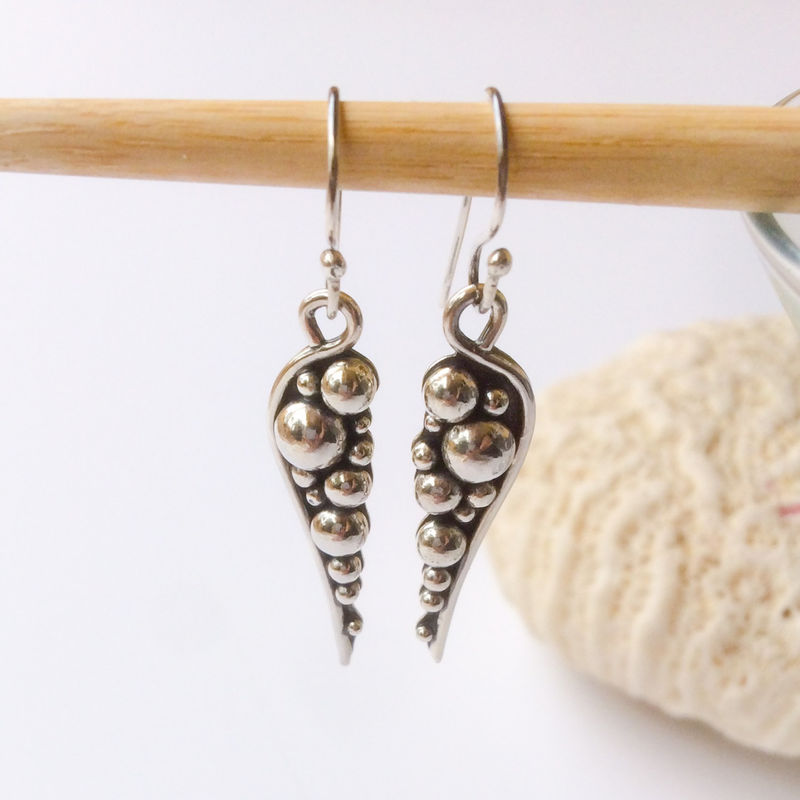 Solid Sterling Silver Pebbles Dangles Silversmith Earrings - product images  of
