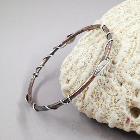 Entwined,Leaf,Copper,Sterling,Bangle,Mixed,Metal,Bracelet,entwined leaf, leaf bracelet, copper Sterling bangle, mixed metal bohemian bracelet, copper stacking bracelet
