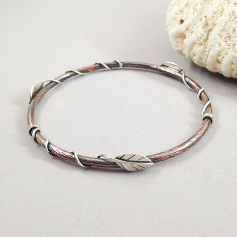 Entwined Leaf Copper Sterling Bangle Mixed Metal Bracelet - product images  of