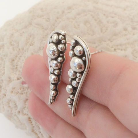 Sterling Silver Long Stud Earrings, Pebble Design  - product images  of