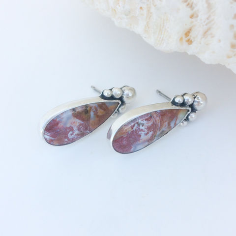 Red,Agate,Earrings,Handcrafted,Long,Studs,red agate earrings, silversmith studs, multicolor agate earrings, solid silver artisan jewelry