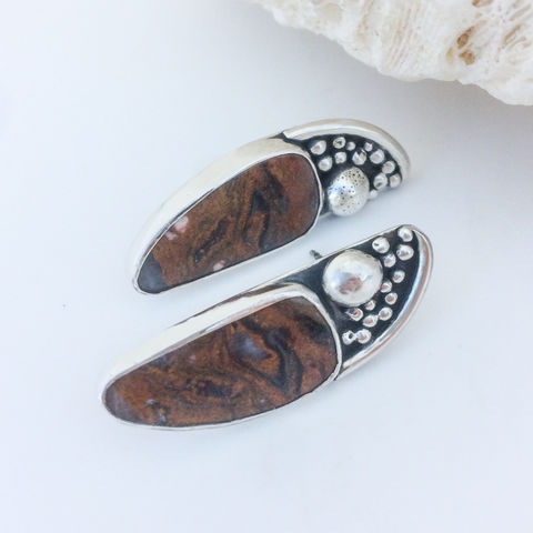 Brown,Agate,Earrings,Sterling,Silver,Artisan,Studs,Brown agate earrings, Sterling silver stud earrings, artisan silversmith posts, bohemian earrings,