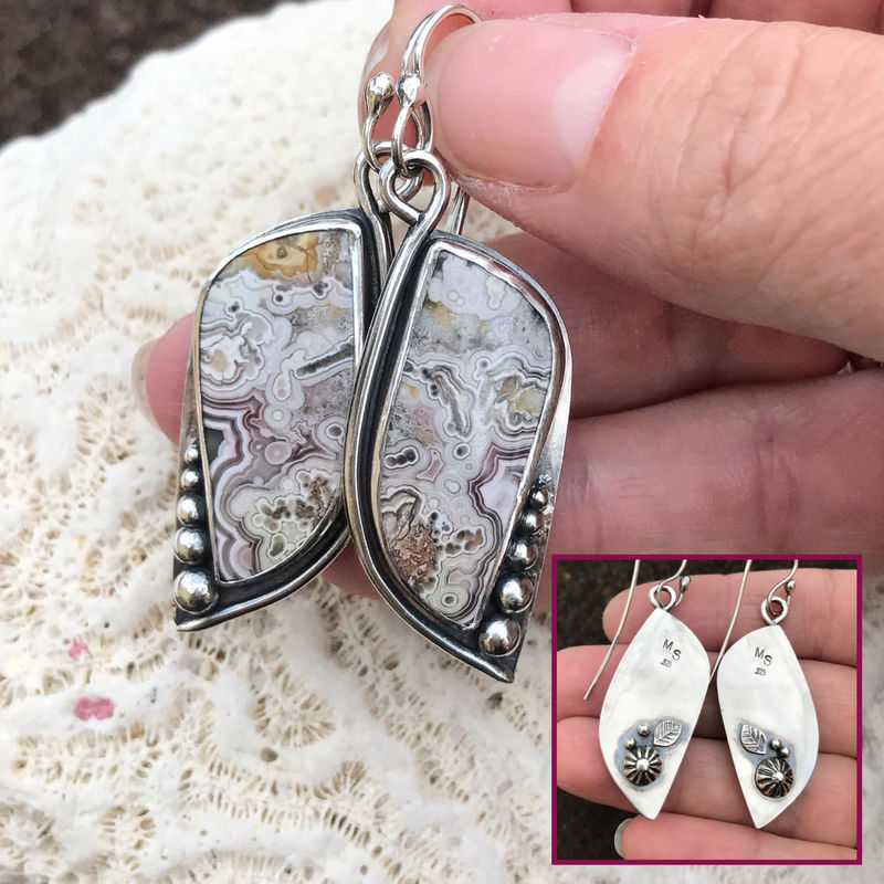 Multicolor Crazy Lace Agate Earrings Artisan Silver Statement  Earrings  - product images  of