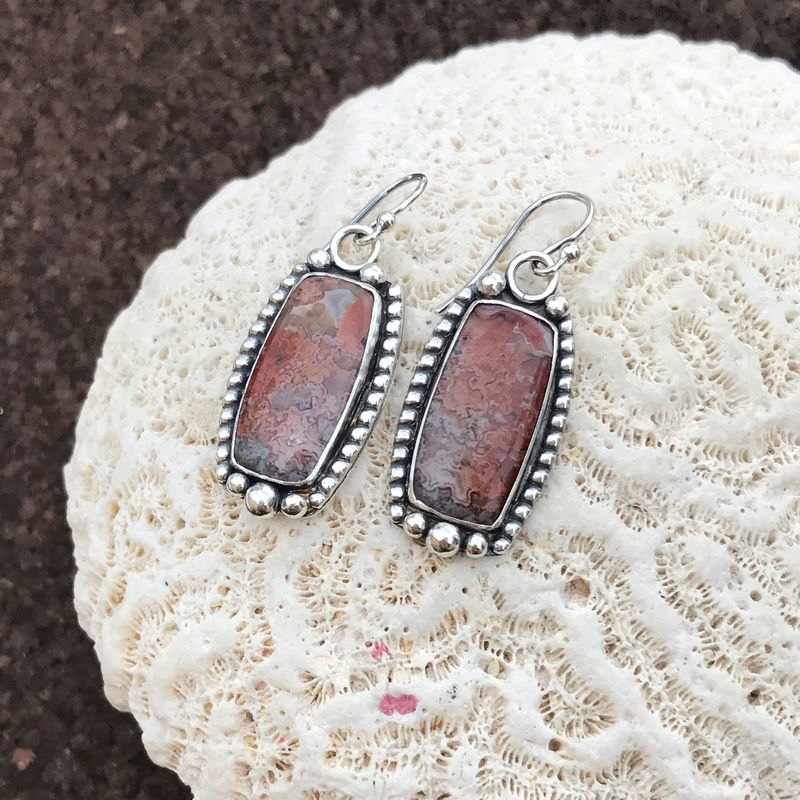 Red Crazy Lace Agate Earrings Artisan Statement Dangles   - product images  of