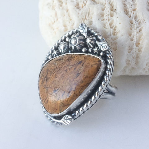 Elephant Jasper Ring Size 9 1/2 Floral Silversmith Statement Ring - product images  of