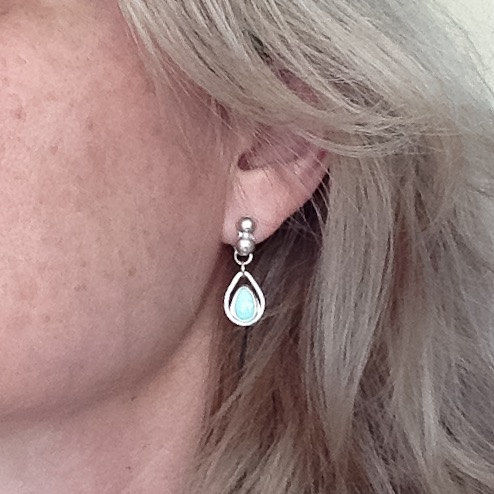Blue Turquoise Dangles Sterling Rain Drop Post Earrings - product images  of
