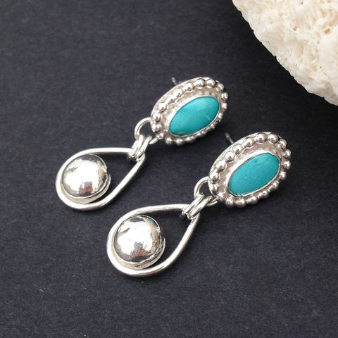 Turquoise,Earrings,Artisan,Rain,Drops,Boho,Chic,Post,Dangles,kingman turquoise earrings, sterling silver raindrop earrings, boho chic posts, artisan dangles, December birthstone