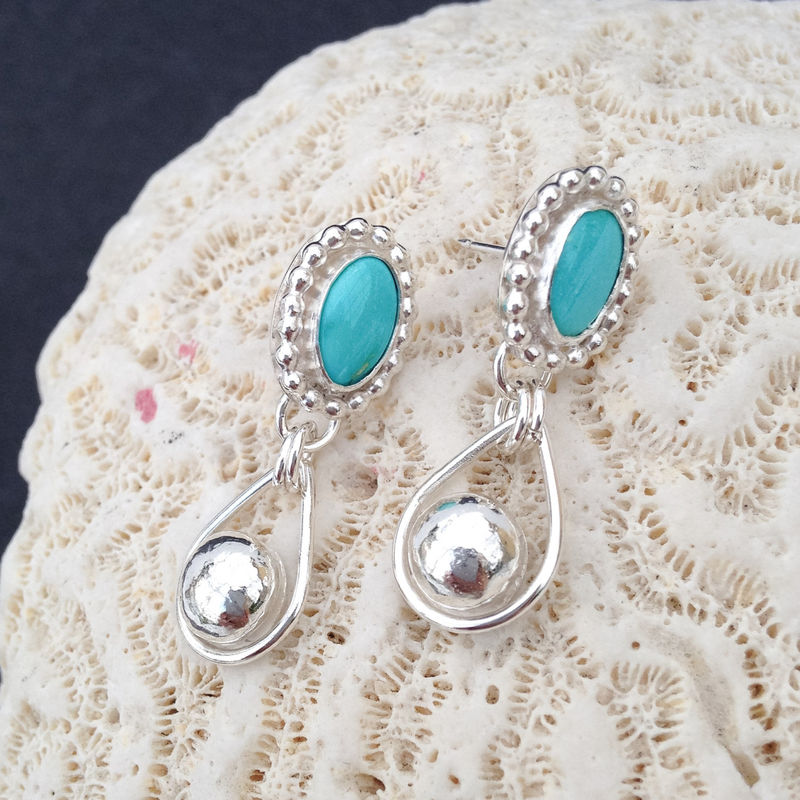 Turquoise Earrings Artisan Rain Drops Boho Chic Post Dangles - product images  of