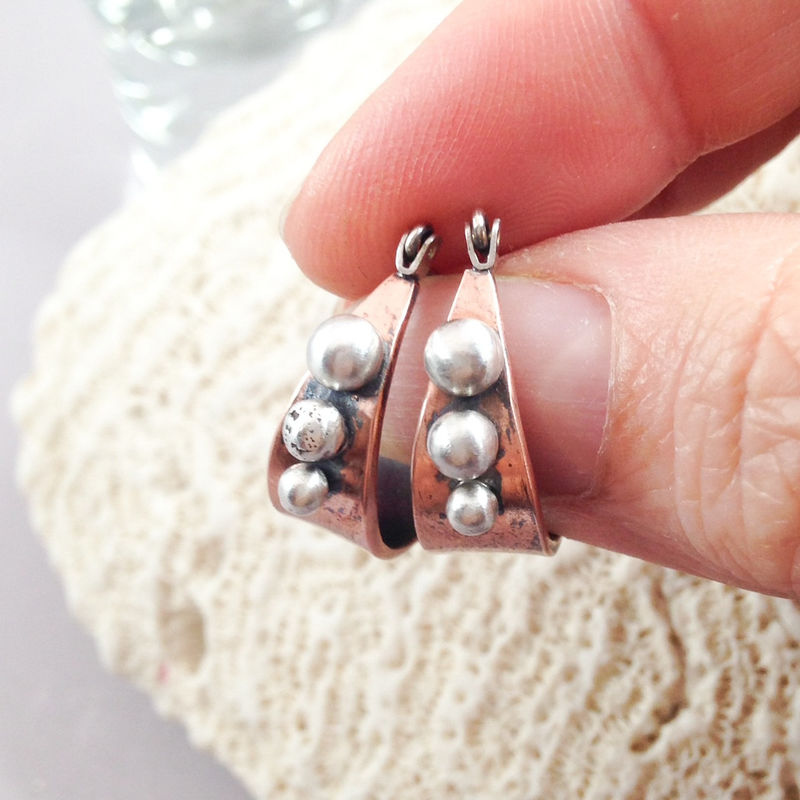 Mixed Metal Hoop Earrings Copper and Sterling Silver Ball Accents  - product images  of