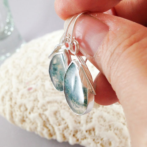 Green Moss Agate Earrings Silversmith Pear Dangles Sterling Silver - product images  of