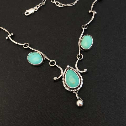 Three,Stone,Feminine,Turquoise,Necklace,Sterling,Silver,Handmade,Chain,turquoise necklace, silversmith, Sterling silver, feminine design, bib necklace, statement