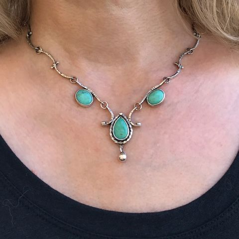 Three Stone Feminine Turquoise Necklace Sterling Silver Handmade Chain - product images  of