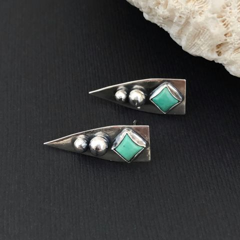 Kingman,Turquoise,Long,Earrings,Sterling,Silver,Ball,Studs,kingman turquoise earrings, Sterling silver, ball studs, long dangles, artisan, silversmith,