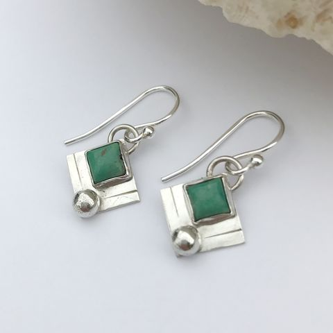 Square,Turquoise,Dangle,Earrings,Sterling,Silver, hand fabricated kingman turquoise earrings, minimalist sterling silver dangles, square turquoise stone earrings