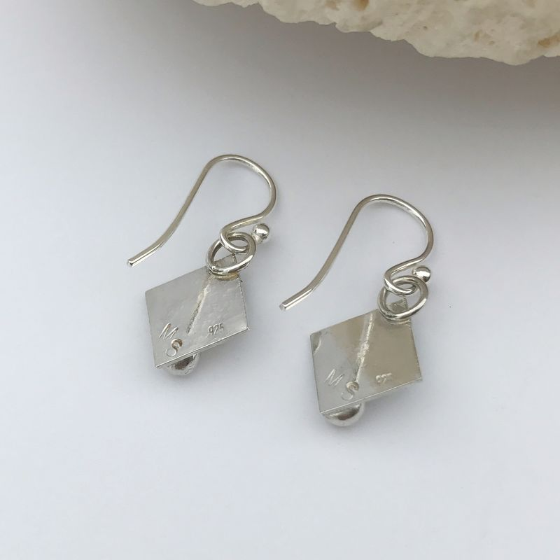 Square Turquoise Dangle Earrings Sterling Silver - product images  of