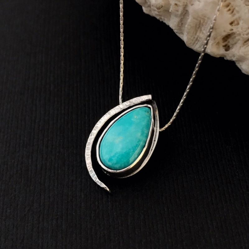 Modern Turquoise Necklace Sterling Silver Forged Silversmith Pear - product images  of