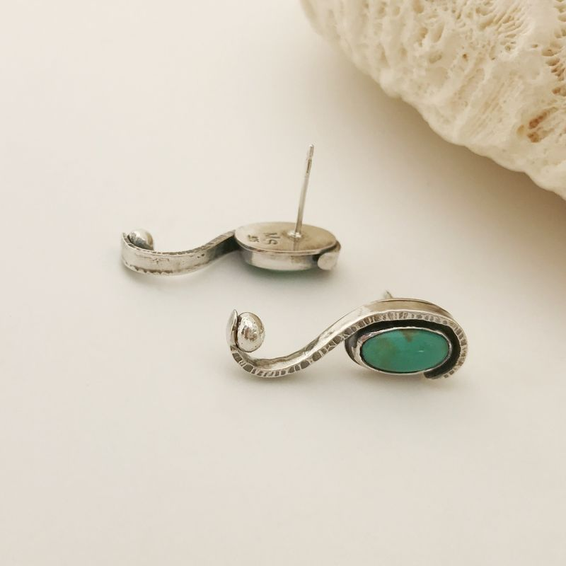 Forged Kingman Turquoise Long Stud Earrings Scroll Design - product images  of