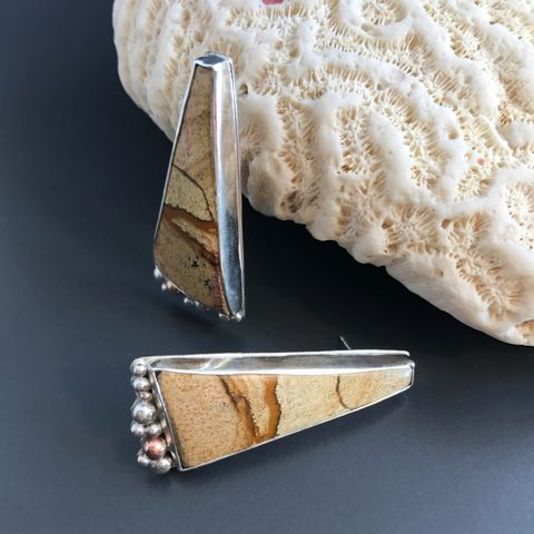 Picture Jasper Earrings Very Long Post Dangles Artisan Silversmith - product images  of