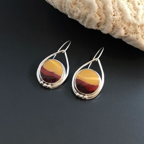 Mookaite,Jasper,Earrings,Red,and,Yellow,Dangles,Sterling,Silver,mookaite jasper earrings, red and yellow dangles, colorful sterling silver jewelry
