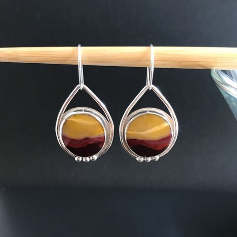 Mookaite,Jasper,Earrings,Red,and,Yellow,Dangles,Sterling,Silver,sterling silver mookaite jasper earrings, red and yellow stone dangles, colorful silversmith jewelry