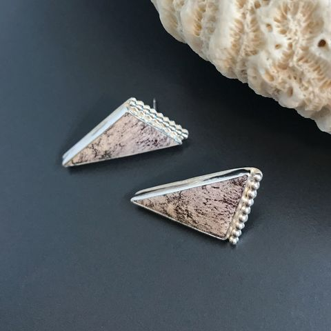 Alunite,Earrings,Triangle,Posts,Artisan,Sterling,Silver,sterling silver alunite earrings, silversmith triangle earrings, artisan sterling silver jewelry