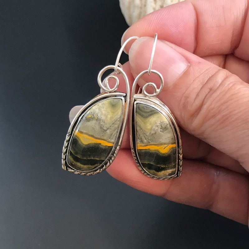 Bumble Bee Jasper Earrings Sunset Picture Stone Dangles - product images  of