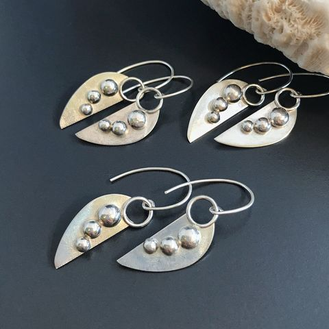 Sterling Silver Ball Earrings Artisan Silversmith Dangles - product images  of